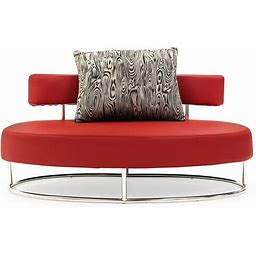 Modern Oyster Contemporary Comfortable Microfiber Lounge Chair - Red