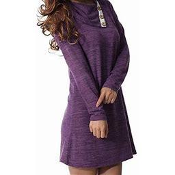Vista Women's Long Sleeve Button Deco Neck Loose Casual Short T Shirt Dress, Size: XL, Purple