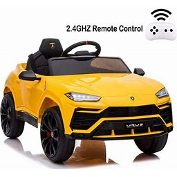 Kids Vehicle, 12V Ride-On Car With Power Wheels, Remote Control, Ride-On Car Toy W/3 Speeds, LED Lights, Double Doors, Safety Belt, MP3 Player, 42' X