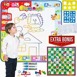Aqua Magic Water Doodle Mat Toddler Games 30X30 Inches Extra Large Water Drawing Doodling Mat Coloring Mat Educational Toys Gifts For Toddlers Boys