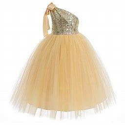 Ekidsbridal One-Shoulder Sequin Tutu Flower Girl Dress Wedding Pageant Dresses Ball Gown Tutu Dresses Pageant Dress 182, Girl's, Size: 12, Gold