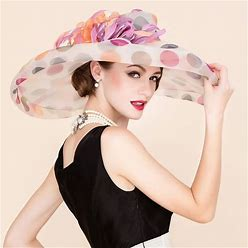 Jjshouse Ladies' Colorful Organza With Feather Floppy Hat Kentucky Derby Hats