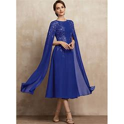 Jjshouse A-Line Scoop Neck Tea-Length Chiffon Lace Mother Of The Bride Dress With Sequins