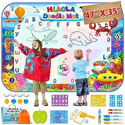 HLAOLA Aqua Magic Doodle Mat Extra Large Water Drawing Doodling Mat Coloring Mat Writing Educational Toys Gift For Kids Toddlers Boys Girls Age 3 4