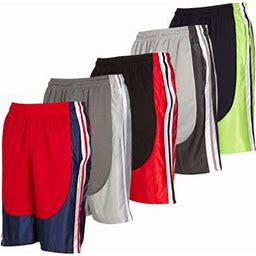 Daresay Mens Athletic Workout Active Performance Shorts With Pockets, XL, Pack Of 5, Men's
