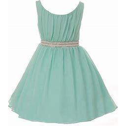 Dreamer P Big Girls' Dress Classy Pearl Rhinestone Chiffon Party Birthday Flower Girl Dress Mint Size 12 (m37bk9), Girl's, Green