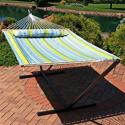 Freeport Park® Halie Double Spreader Bar Hammock With Stand Color: Blue/Green, Size: 12'