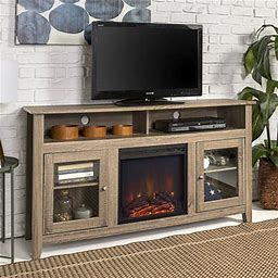 Walker Edison Tall Fireplace TV Stand For Tvs Up To 64 Inch, Driftwood Size: 32 Inch H X 58 Inch W X 16 Inch Large, Beige,Walker Edison Tall Fireplace TV Stand For Tvs Up To 64 Inch, Driftwood Size: 32Inch X 58Inch, Beige