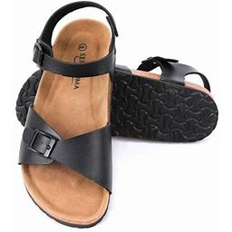 Seranoma Women's Comfort Cork Double Strap Sandal | Secure Adjustable Ankle Strap, Size: 10, Black