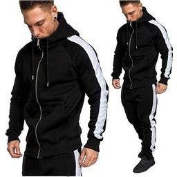 2019 New Men Tracksuits Casual Jogger Set Long Sleeve Full Zip Hoodie Sweatshirt + Joggers Pant Sportsuit - Limsea Red 0000B