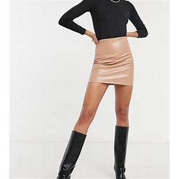 ASOS DESIGN Tall Leather Look Super Seam Mini Skirt In Camel-Red - Red (Size: 14)