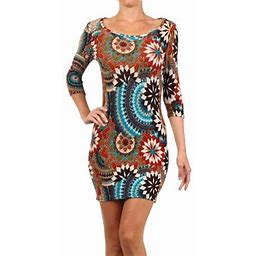 Moa Collection Women's Trendy Style Print Body Con Dress., Size: Large