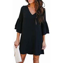 Vista Women's Dress Sweet & Cute V-Neck Bell Sleeve Shift Dress Mini Dress, Size: Large, Black