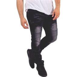 Skylinewears Mens Skinny Destroyed Biker Slim Fit Straight Fashion Stretch Biker Zipper Jeans, Men's, Size: 36 X 34, Black