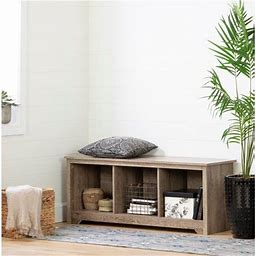South Shore Vito Cubby Storage Bench, Multiple Finishes, Brown