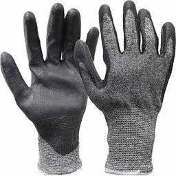 Hyper Tough Hppe Ansi A4 Anti Cut No Cut PU Coated Gloves, Men's X-Large, Size: One Size, Black