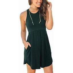 Sexy Dance Casual Sleeveless Short Beach Dress For Women Ladies Summer Casual Sleeveless Dresses Pure Color Pleated Loose Tank Tops Dress With Pocket,