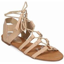 New Women Nature Breeze Dock-02 Leatherette Open Toe Slingback Gladiator Sandal, Women's, Size: 7.5, Beige