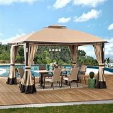 Sunjoy 11 Ft. X 13 Ft. Tan And Brown Gazebo With LED Lighting And Bluetooth Sound