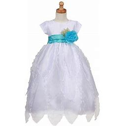 Sophias Style White Floral Petal Turquoise Sash Occasion Dress Little Girl 2T-12, Toddler Girl's