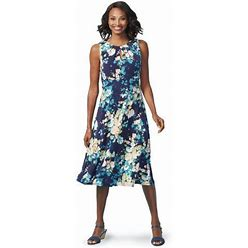 Chadwicks Floral Fit And Flare Dress, Size 8 In Royal - Polyester/Spandex Catalog