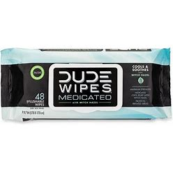 Dude Wipes Fragrance Free Medicated Wipes - 48Ct