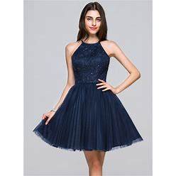 Jjshouse A-Line Princess Scoop Neck Short Mini Tulle Lace Homecoming Dress With Beading Sequins Bow(S) Pleated