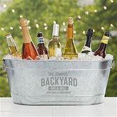 Backyard Bar & Grill Personalized Galvanized Beverage Tub