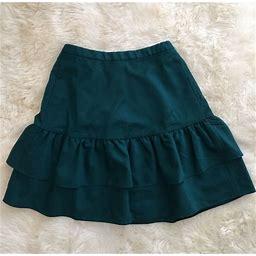 New Jcrew Tall Wool Flannel Ruffle Office Skirt Deep Jade Green G8871 Size 4t