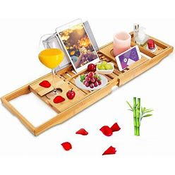 Widousy Premium Bamboo Bathtub Caddy Trays With Extending Sides, Reading Rack, Tablet Holder, Cell Phone Tray And Luxury Wine Glass Holder
