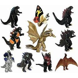 Ezfun Set Of 10 Godzilla Toys With Carry Bag Movable Joint Action
