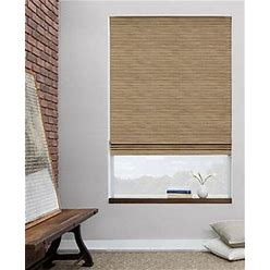 Custom Waterfall Woven Wood Shades. Material: Grassweave, Color: Natural