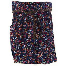Topshop Tall Women's Navy/multi Floral Skirt W/belt And Pockets 30f11a
