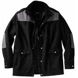 Kingsize Men's Big & Tall Wool Combat Jacket Coat, Size: Big - 7XL, Black