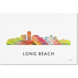 'Long Beach California Skyline Wb-1' Canvas Art, 19X12, Posters, By Trademark Fine Art