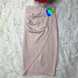 Missguided Skirts | Missguided Tall Asymmetric Ruched Side Midi Skirt | Color: Pink | Size: 0
