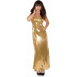 Gold Shimmer Long Sequin Dress Adult Costume, Women's, Size: Large