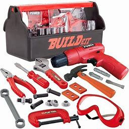 Gold Toy 19 Pieces Pretend Play Construction Tool Set With A Tool Box Including Construction Tool, Accessories And Toy Electric Drill