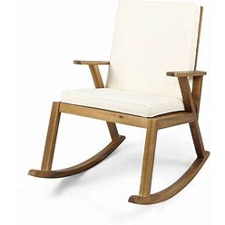 Champlain Outdoor Acacia Wood Rocking Chair With Water-Resistant Cushions By Christopher Knight Home - Teak Finish + Cream Cushion