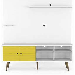 Liberty Freestanding Entertainment Center 70.87 In White And Yellow