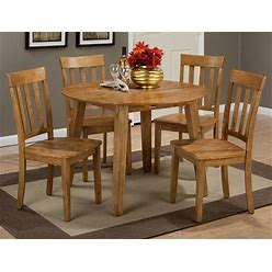 Jofran Furniture Simplicity Honey 5Pc Round Dining Set With Slat Back Chair