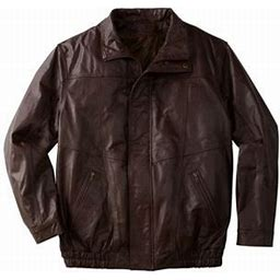 Kingsize Men's Big & Tall Leather Bomber Jacket, Size: Big - 4XL, Brown