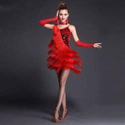 Latin Dance Dress Sequin Tassel Tier Women's Performance Short Sleeves Sleeveless High Lycra Polyester Red XL 00005