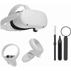 Oculus Quest 2 Most Advanced All-In-One Virtual Reality Gaming Headset W/ Mazepoly Knuckle Strap (64Gb), Size: 16.3X7.7X5, White