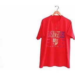 Vintage T Shirt / Los Angeles Shirt / Souvenir T Shirt / 1990S Red Los Angeles California Rainbow Print T Shirt XL