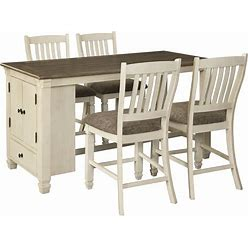 Signature Design By Ashley Bolanburg Antique White/Brown 5 Piece Rectangular Counter-Height Dining Set With Upholstered Barstools
