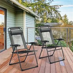 Gymax 2PC Folding Chairs Adjustable Reclining Chairs With Headrest - See Details