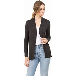 TheLovely Women's Open Front Knit Long Sleeve Pockets Sweater Slim Cardigan, Size: Large, Gray