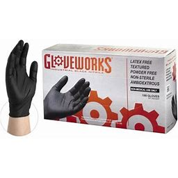 Gloveworks Nitrile Latex Free Industrial Disposable Gloves, X-Large, Black, 100/Box, Size: One Size