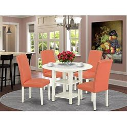Wayfair Dacus 5 - Piece Drop Leaf Solid Wood Rubberwood Dining Set Wood/Upholstered Chairs In White, Size 29.5 H In
